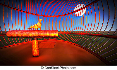 Pigeon sitting in the cage - symbolizes lack of freedom 3d rendering