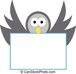 Pigeon with a sign on white background