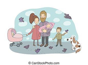 pigeons., couple, bébé, newborns., rigolote, chien, walk., gai, mignon, dessin animé, famille, heureux, gosses, maman, papa