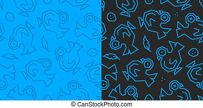 Pigeons, feathers and eggs low poly seamless pattern. Black and blue background, 2 versions.