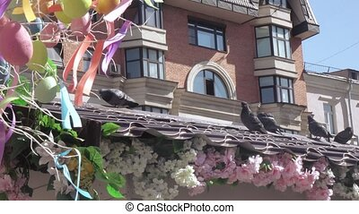 Pigeons on the roof - RUSSIA, MOSCOW - April 10, 2018:...