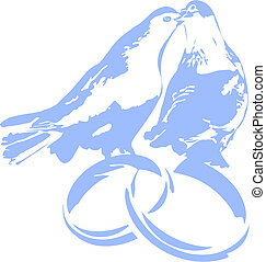 Pigeons on wedding rings - Doves on wedding rings isolated...