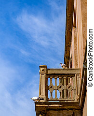 Pigeons standing on the balcony of the old abandoned house