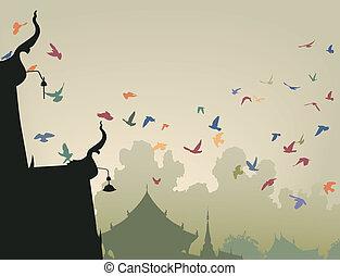 pigeons, temple