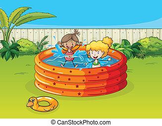 piger, spille, ind, svømmebassinet
