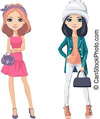 piger, vektor, mode, smukke
