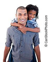 piggiback, seu, dar, passeio, pai, filho, étnico