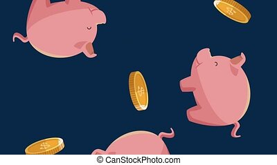 Piggy and coins falling background - Piggy and coins falling...
