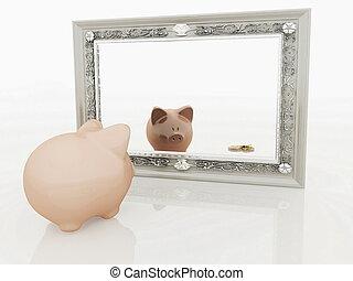 Piggy at the mirror - Piggy at the mirror