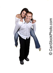 Piggy Back Ride - A Young Couple Fooling Around