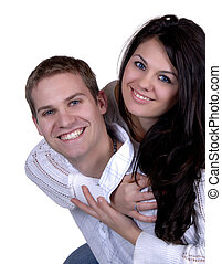 Piggy Back Ride - Young Attractive Couple Happily In Love
