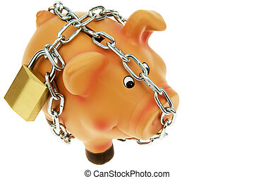 piggy backed with chain and lock