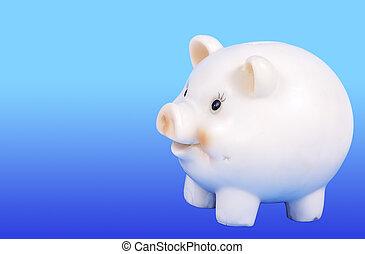 Piggy Bak - Piggy Bank on a Blue Background
