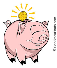 piggy, banco, Feliz
