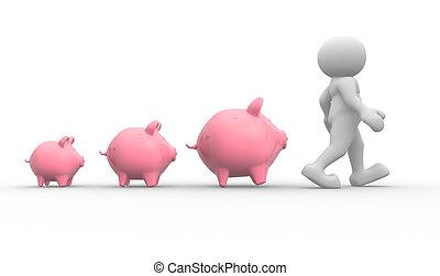 Piggy bank - 3d people - human character and piggy bank. 3d ...