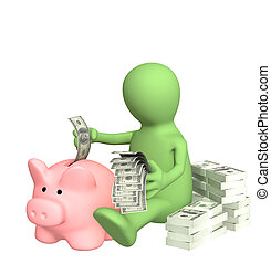 Piggy bank - 3d puppet who is saving money in piggy bank
