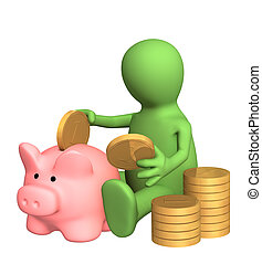Piggy bank - 3d puppet who is saving money in piggy bank. ...