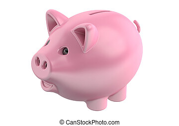 Piggy bank, 3D rendering