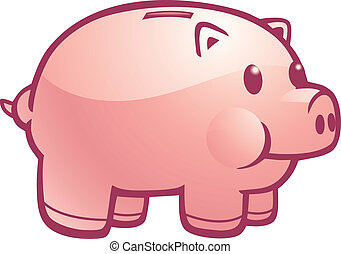 Piggy Bank - A cartoon illustration of a pink piggy bank.