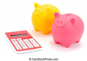 Piggy bank and a calculator.