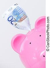 piggy bank and bill