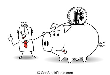 Piggy bank and bitcoin - This business man saves money in...