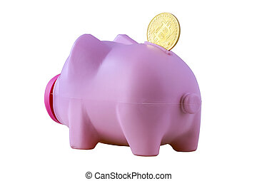 piggy bank and bitcoin - go away pink piggy bank with ...