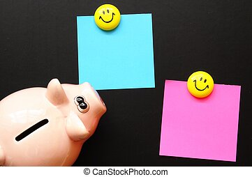 piggy bank and blank or empty black copyspace