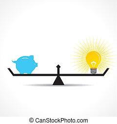 piggy bank and bulb idea