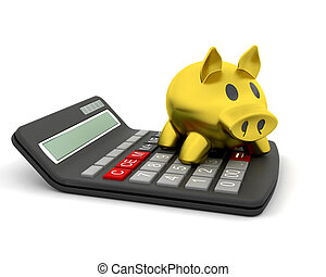 piggy bank and calculator