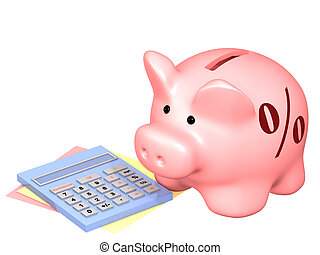 Piggy bank and calculator. Objects isolated over white