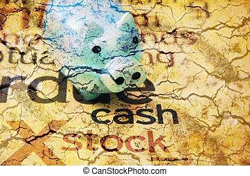 Piggy bank and cash stock concept
