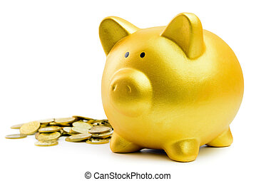 Piggy bank and coins - Close up of piggy bank and coins on ...