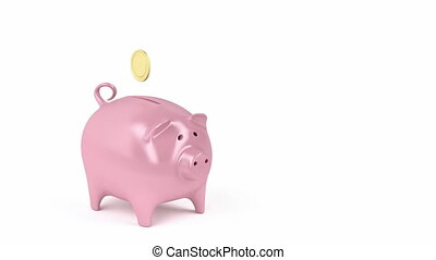 Piggy bank and coins - Inserting golden coins into a piggy...