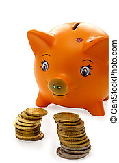 Piggy bank and coins on a white background