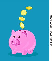 Piggy Bank and Coins Vector Illustration