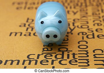 Piggy bank and credit concept