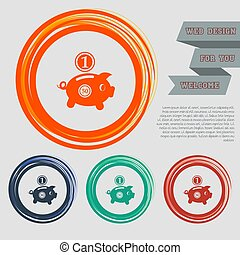 Piggy bank and dollar coin icon on the red, blue, green, orange buttons for your website and design with space text. Vector