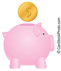 piggy bank and dollar coin