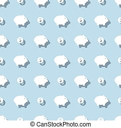 Piggy Bank And Dollar Coin Seamless Pattern