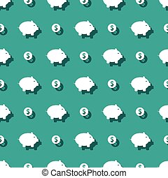 Piggy Bank And Dollar Coins Seamless Pattern