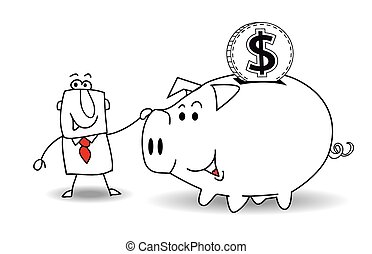 Piggy bank and dollar - This business man saves money in his...