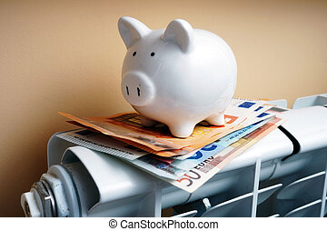 Piggy bank and euro banknotes on the heating radiator.