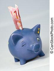 piggy bank and euro