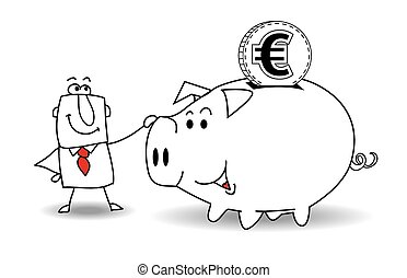 Piggy bank and euro - This business man saves money in his...