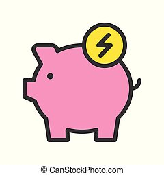 Piggy bank and flash sign, filled line Flat icon saving energy and environmental concept