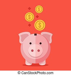 Piggy bank and gold coins. Modern flat design vector ...