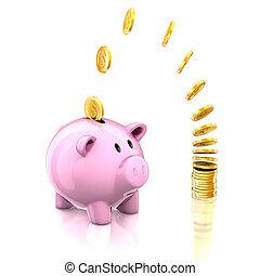 piggy bank and golden coins