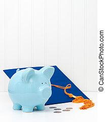Piggy Bank and Graduation Cap Portrait