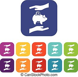 Piggy bank and hands icons set